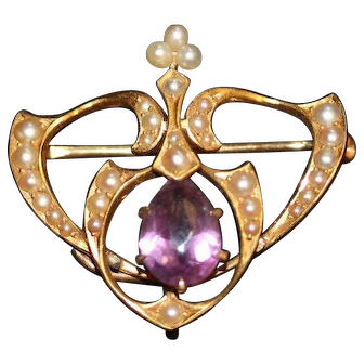 Victorian Amethyst and Seed Pearl 14k Watch Pin or Brooch