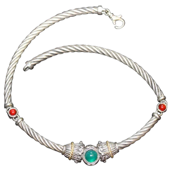 Vintage Designer Sterling and 18K Choker with Green Stone