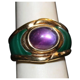Vintage Vermeil Ring with Amethyst Cab and Malachite Inlay