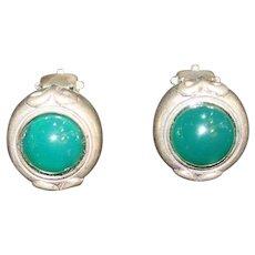 Vintage Sterling Silver Green Stone Designer Clip On Earrings
