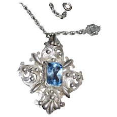 Beautiful Cellini Blue Topaz  800 Silver Vintage Necklace with Amazing Chain