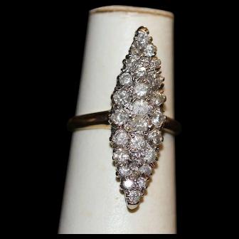 Navette Diamond Cluster Ring 14k Vintage