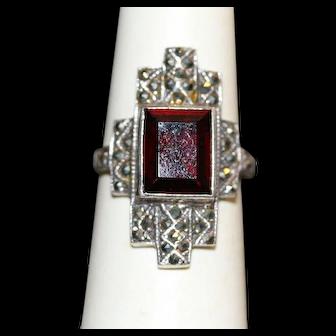 Vintage Garnet and Marcasite Sterling Ring
