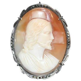 Vintage Religious Cameo of Jesus in 800 Silver and Marcasite