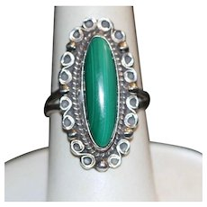 Malachite Sterling Ring Stamped Mexico
