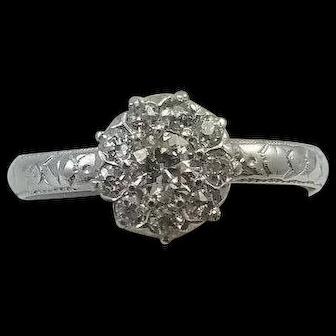 Vintage 18K Gold Old European Cuts Diamond Ring