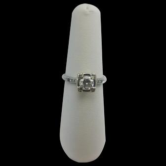 Vintage 900 Platinum Large Diamond ring Size 7.5