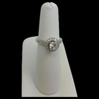 Vintage 14K Ring Halo of Diamonds Large