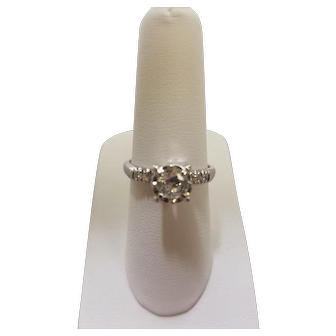 Vintage 14K Diamond Ring with a Large Old European Cut
