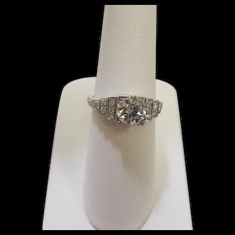 Vintage 18K Beautiful Diamond Step Design Ring