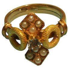Vintage 14K Rose Gold Ring 8 Half Sea Pearls