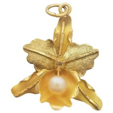 Vintage 14K Yellow Gold Leaf Brooch Cultured Pearl