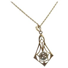 Vintage 14K Yellow Gold Chain with a 10K Gold Pendant