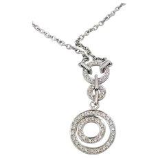 Vintage 18K White Gold Necklace 3 Circles