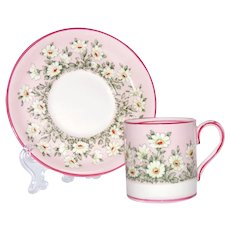 STAFFORDSHIRE Miniature Cup Saucer Fine Bone China Pink Daisies 1930