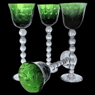 Saint-Louis St Louis Crystal 4 Green Bubbles Wine Hocks Glasses w Labels Perfect