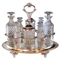 Sterling Silver Cruet Set Cut Glass Bottles Scruples George III