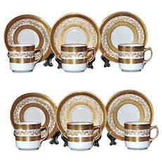 Adderleys Antique Cups Saucers 6 Demitasse 1920s Mark Gold Encrusted