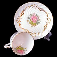 AYNSLEY Tea Cup Saucer Set signed G Bentley Large Pink Roses Gold