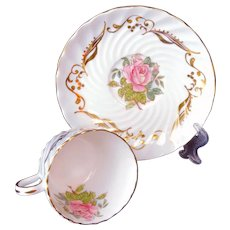 AYNSLEY Tea Cup Saucer Set signed S Bentley Large Pink Roses Gold