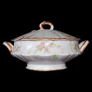 Haviland Limoges Schleiger 146 Tureen Covered Vegetable Dish Gold Trim Blank 133