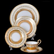 Raynaud Limoges Ceralene Imperial 5 Piece Place Setting Plates Cups Saucers Gold