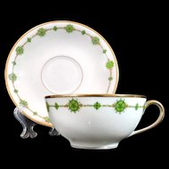 LIMOGES France Cup Saucer Bawo Dotter Elite Works Green Gold Trim