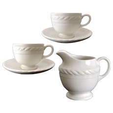 RALPH LAUREN Wedgwood CLEARWATER Creamer 2 Cup Saucer Sets Vintage
