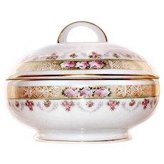 BAVARIAN Powder Box Dresser Vanity Footed Porcelain Pink Roses Gold Jewelry Box