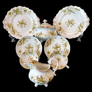 1830 Samuel Alcock Sugar Bowl Creamer Cups Saucers Plates Birds Butterflies