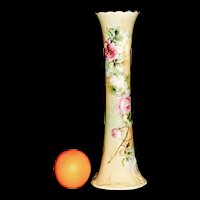 American Belleek Vase Handpainted Pink Roses Yellow Gold Trim 15 in tall Willets