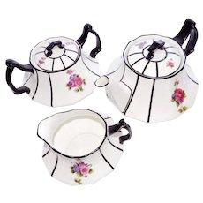 Antique English Teapot Creamer Sugar Bowl Cauldon Brown-Westhead Moore Co c 1890