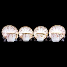 T V Limoges Demitasse 4 Cup Saucer Sets Gold Roses