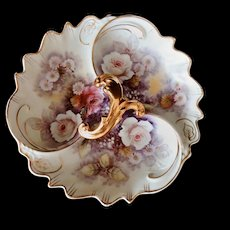 Dresden Divided Dish Porcelain Plate Condiment Tray Hand Painted Roses Gold Trim
