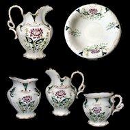 Rare Edwin Bennett Bona Fama Victorian Thistle Pitcher Wash Basin 5 Piece Vanity Set