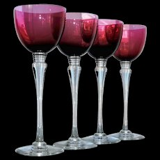 Saint Louis Crystal St Louis 4 Grand Lieu Hocks Wine Glasses Amethyst Labels