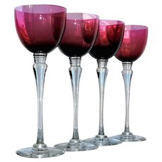 Saint Louis Crystal St Louis 4 Grand Lieu Hocks Wine Glasses Amethyst Labels
