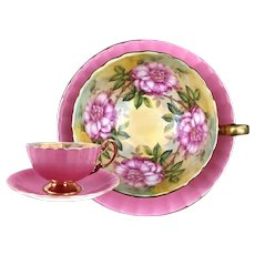 AYNSLEY Pink & Gold with PINK Cabbage Roses Footed Cup Saucer