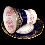 French Faience Porcelain Cup & Saucer Haviland Limoges Victorian
