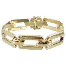 18k Yellow Gold Fancy Link Wide Bracelet