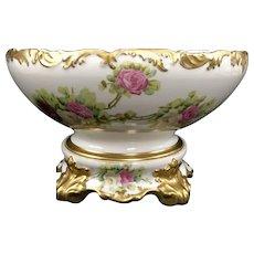 Limoges France T & V Punch Bowl Large W Roses Handpainted