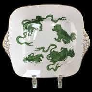 Wedgwood Bone China Green Chinese Tigers Platter Square Plate Tray