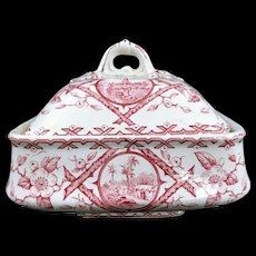 Early Minton Antique Butter Dish Set Pink Scenes
