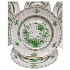 HEREND INDIAN Basket Green Dinner Plate Porcelain Hand Painted