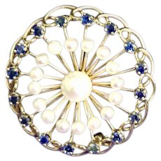 VINTAGE Gold 14K Yellow Gold Pin Pearl SAPPHIRE Brooch Pendant