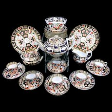 c 1800 Antique Royal Crown Derby Imari Dessert Set Teapot Coffee Can Cups