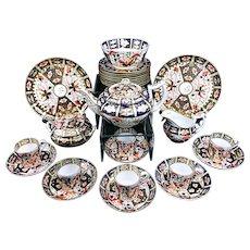 c 1800 Antique Royal Crown Derby Imari Dessert Set Teapot Coffee Can Cups