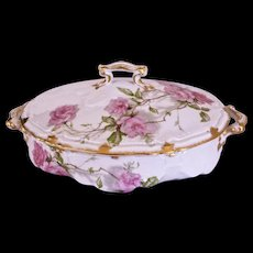 Baltimore Rose HAVILAND FRANCE China Oval Covered Serving Bowl - SCHLEIGER 1151