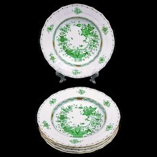 HEREND Porcelain INDIAN Basket Green Soup Plate / Bowl