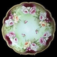 Porcelain Rose Plate CHARGER Huge Hand Painted Roses Gorgeous Austria